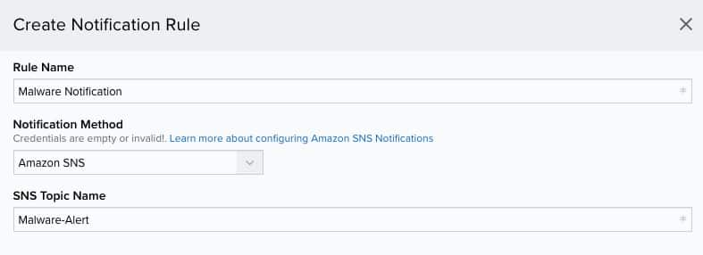 Configuring SNS Notifications in USM Anywhere